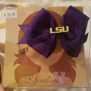 LSU Earrings and Bow Set